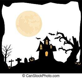 hus, baggrund, halloween