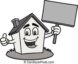 hus, cartoon, illustration, tegn