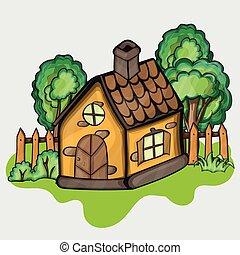 hus, cartoon, illustration