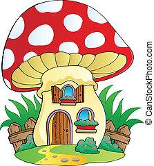 hus, cartoon, svamp