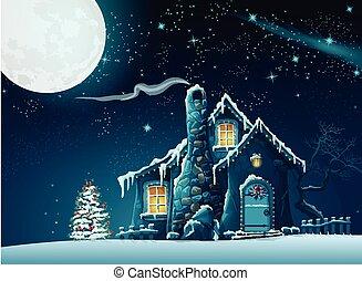 hus, fabelagtige, jul, illustration, nat