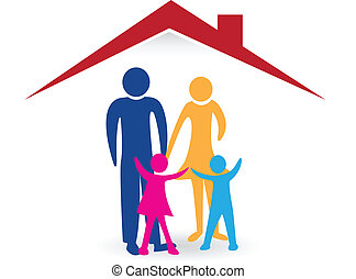 hus, glade, logo, familie, nye