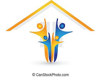 hus, glade, logo, familie, vektor
