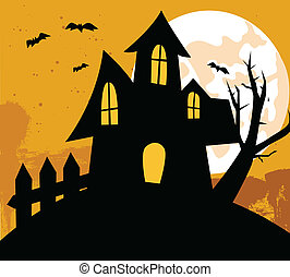 hus, halloween, baggrund