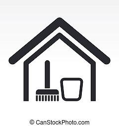 hus, illustration, isoleret, singel, ikon, vektor, rense