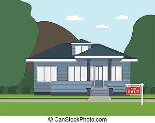 hus, illustration, moderne, omsætning, vektor