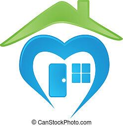 hus, image, vektor, logo