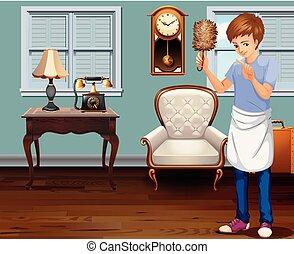 hus, mand, rensning, unge