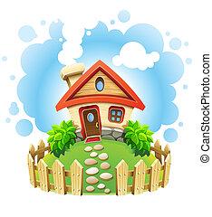 hus, plæne, fairy-tale, rækværk