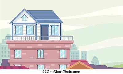 hus, rooftop, illustration