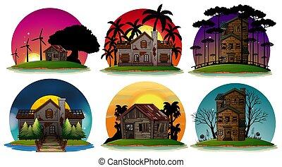 hus, sæt, haunted