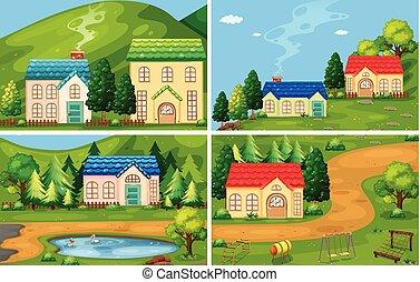 hus, sæt, skov