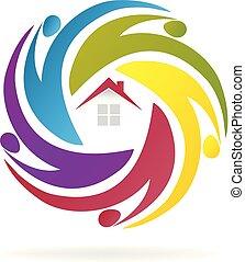 hus, teamwork, agenter, firma, logo