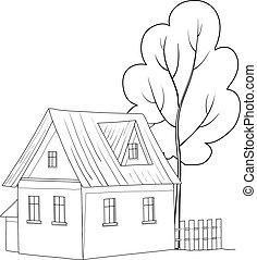 hus, træ