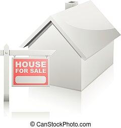 hus, udsalg underskriv