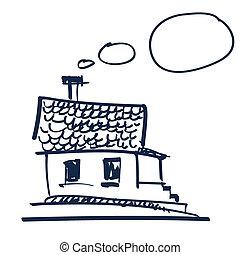 hus, vektor, landskab, illustration