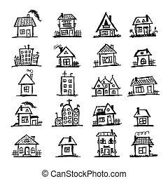 huse, skitse, kunst, din, konstruktion