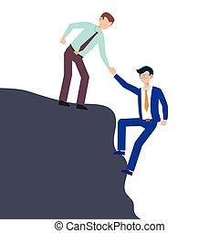 hver, kammerat, firma, white., isoleret, karakter, give, lejlighed, illustration, cartoon, problem., konstruktion, klatre, hjælpe ræk, begreb, mand, andet.