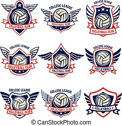 hvid, badge., baggrund., emblems, etikette, element, emblem, volleyball, tegn, logo, konstruktion