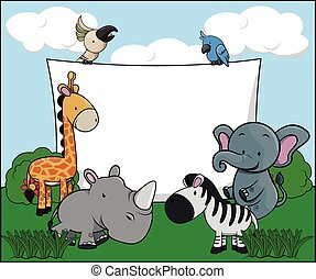 hvid, banner, dyr, safari