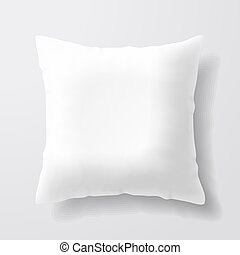 hvid, firkantet, pillow, blank