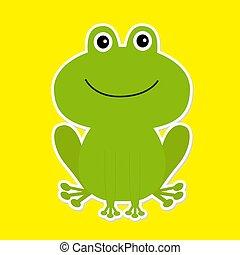 hvid, frog., grønne, cartoon, baggrund., cute