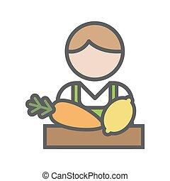 hvid, fruiterer, avatar, baggrund, ikon