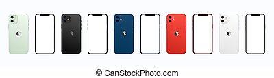 hvid, illustration, iphone, isoleret, 12, æble, baggrund., vektor, colors., set., mockup