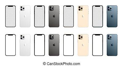 hvid, illustration, iphone, isoleret, 12, max, æble, fire, vektor, colors., professionel, baggrund., set., mockup
