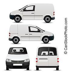 hvid, køretøj, kommerciel, mockup