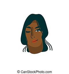 hvid, kunst, pige, hånd, illustration, abstrakt, karakter, cartoon, isoleret, baggrund, moderne, sort, vektor, grafik, stram