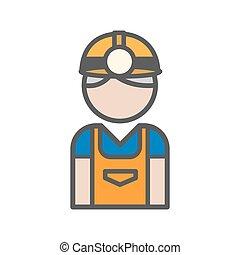 hvid, minearbejder, avatar, baggrund, ikon
