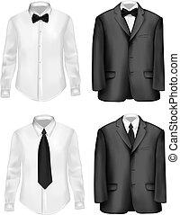 hvid, sort, skjorter, tøjsæt