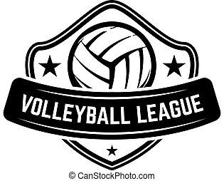 hvid, tegn., baggrund., skabelon, etikette, element, emblem, emblem, volleyball bold, isoleret, konstruktion, logo