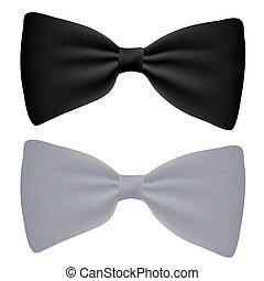 hvid, vektor, sort, isoleret, bow-tie