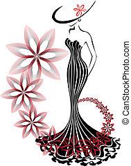 hvirvel, kvinde, blomst