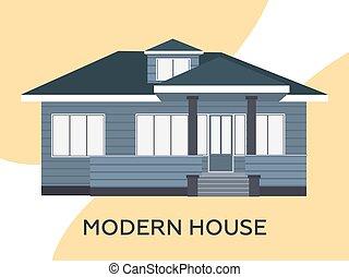 hytte, illustration, moderne, vektor, smukke
