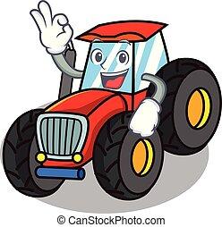 i orden, firmanavnet, karakter, cartoon, traktor