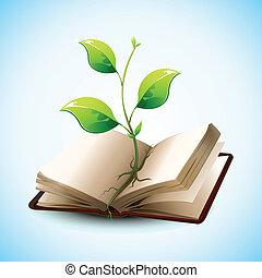 i tiltagende, plante, bog, åbn