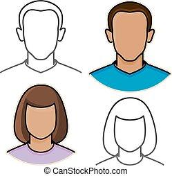 iconerne, abstrakt, mandlig, avatar, kvindelig, vektor