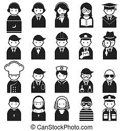 iconerne, adskillige, folk, erhverv