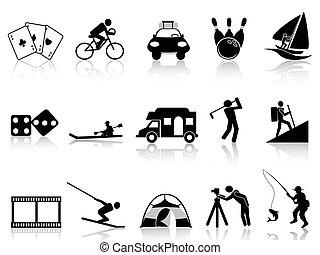 iconerne, adspredelsen, sæt, leisure