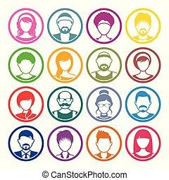 iconerne, avatar, kvindelig, ansigter, cirkel, mandlig