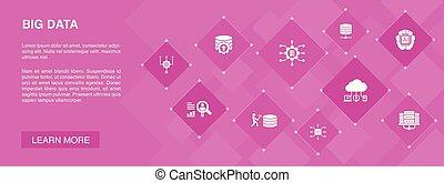 iconerne, banner, kunstige, database, opførsel, data, concept., centrum, stor, bruger, intelligens, 10