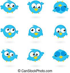 iconerne, blå, twitter, cute, fugle, isoleret, whit, vektor, samling