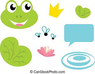 iconerne, dronning, frø, cute, -, isoleret, hvid