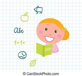 iconerne, elementer, pige, cute, læsning bog, lys, og, skole