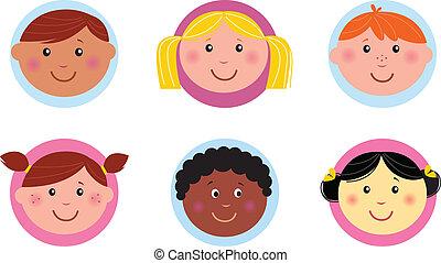 iconerne, eller, cute, børn, diversity, knap