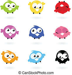 iconerne, farve, twitter, cute, fugle, isoleret, whi, vektor, samling