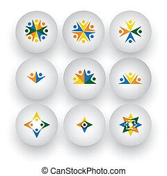 iconerne, folk, enhed, vektor, samfund, spille, børn, glade